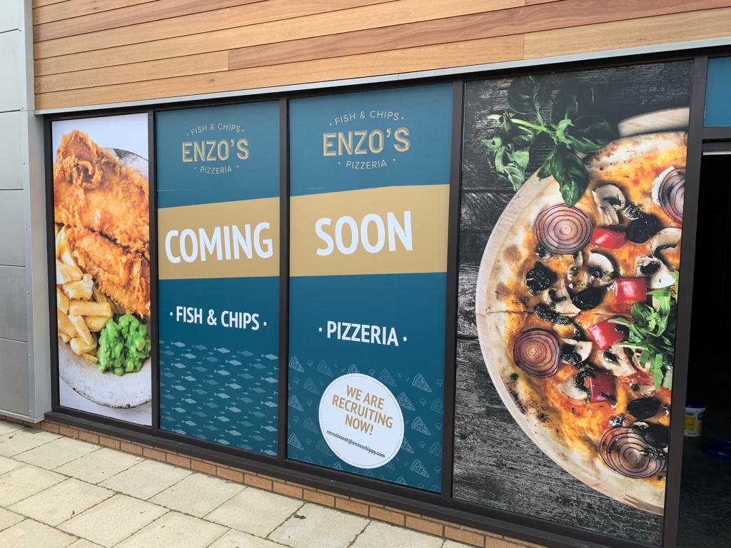 Coming soon banner -Enzo's Fish & Chips Bishopton - by One Call